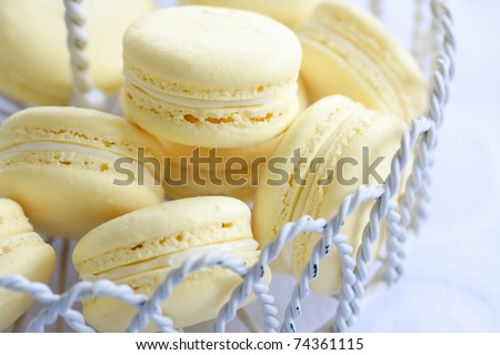 Lemon macarons - stock photo