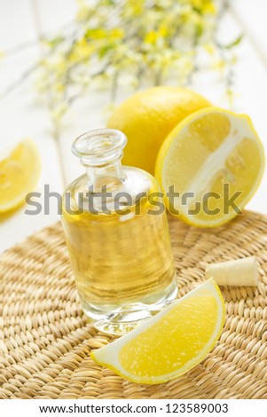 lemon oil - stock photo