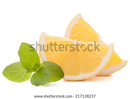 Lemon or citron citrus fruit slice isolated on white background cutout - stock photo