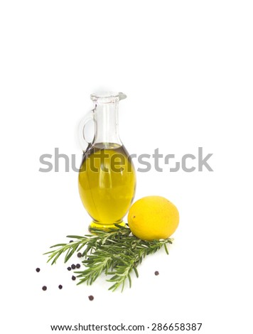 Lemon, rosemary and olive oil - stock photo