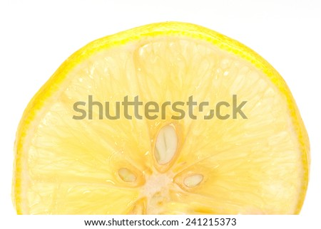 Lemon slice isolated on a white background  - stock photo