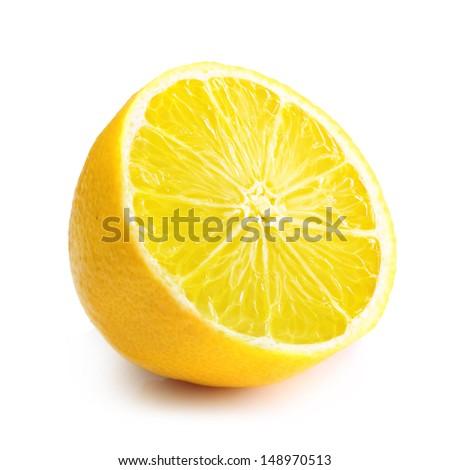 Lemon slice isolated on white background. - stock photo