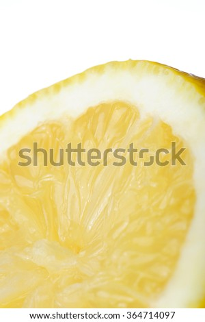 lemon slice skin macro close up on white background - stock photo