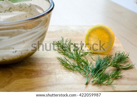 Lemon Slice Sprig of Dill - stock photo