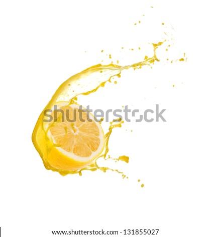 Lemon slice with splash, isolated on white background - stock photo