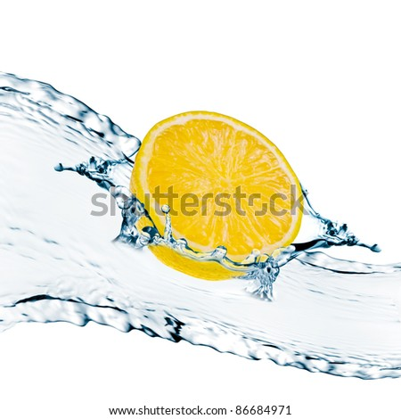 Lemon slices with water splash - stock photo