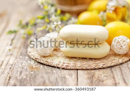 lemon soap - stock photo