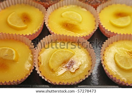 Lemon tarts at a dessert shop - stock photo