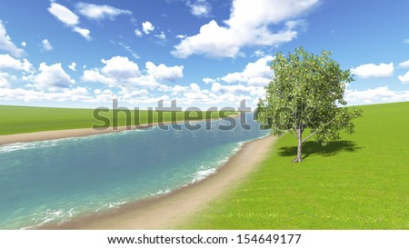 Lemon tree on the bank of the river - stock photo