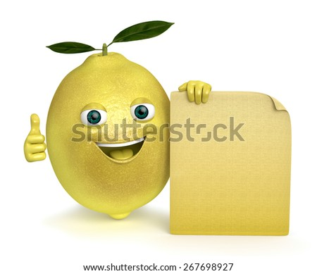 lemon with a sign - stock photo