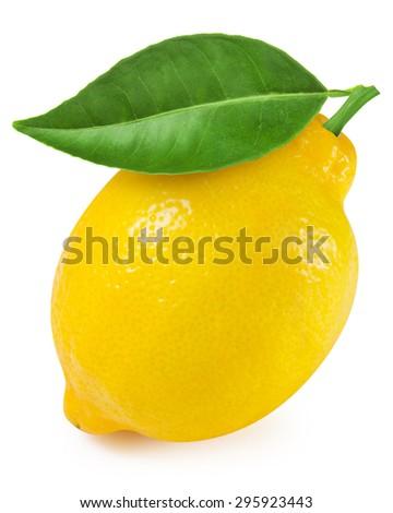 Lemon with leaf isolated on white - stock photo