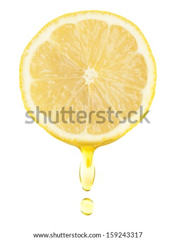 lemon with water drops on the white background - stock photo