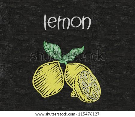 lemon written on blackboard background high resolution - stock photo