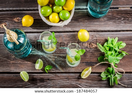 Lemonade made of fresh fruits - stock photo