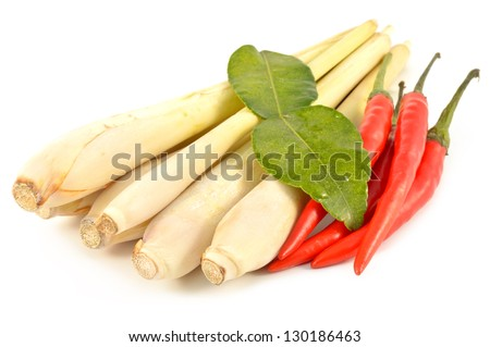Lemongrass, chilli and kaffir lime on white background - stock photo