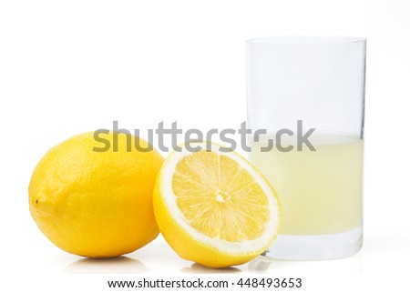 lemons and juice - stock photo