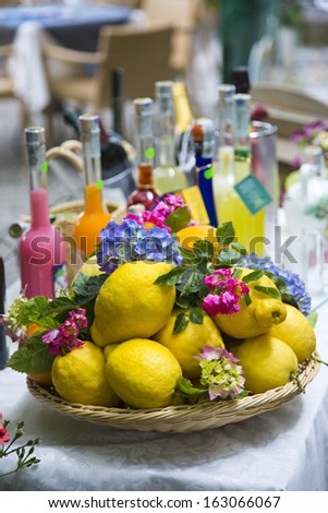Lemons for sale at market stall, Ravello, Amalfi Coast, Salerno, Campania, Italy - stock photo