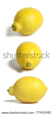 Lemons in three positions, isolated on white - stock photo