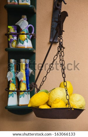 Lemons on a weighing scale at a market stall, Ravello, Amalfi Coast, Salerno, Campania, Italy - stock photo