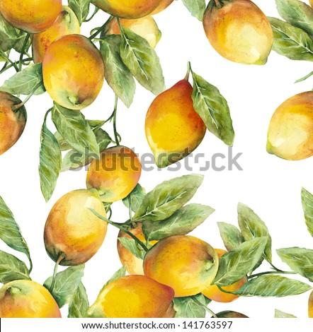 Lemons Seamless Pattern - stock photo