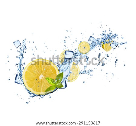 Lemons slices in water splashes and ice cubes isolated on white background - stock photo