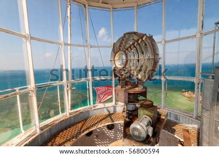 Lengkuas Island Lighthouse Indonesia Old Dutch lighthouse - stock photo