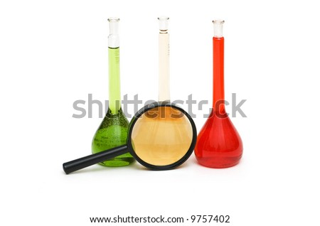 Lens and coloured tubes isolated on the white - stock photo