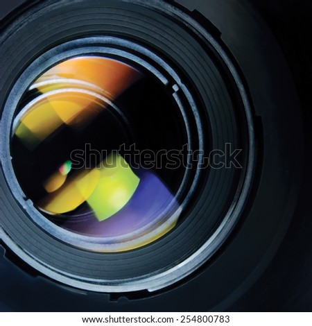 Lens and hood, large detailed macro zoom closeup - stock photo
