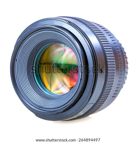 lens camera Isolated on white background - stock photo