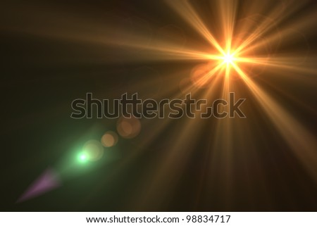Lens flare abstract background. Asymmetric light rays - stock photo