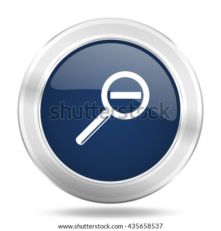 lens icon, dark blue round metallic internet button, web and mobile app illustration - stock photo