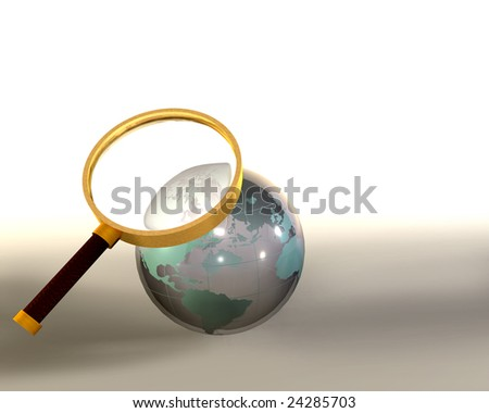 Lens magnifying glass globe sphere - stock photo