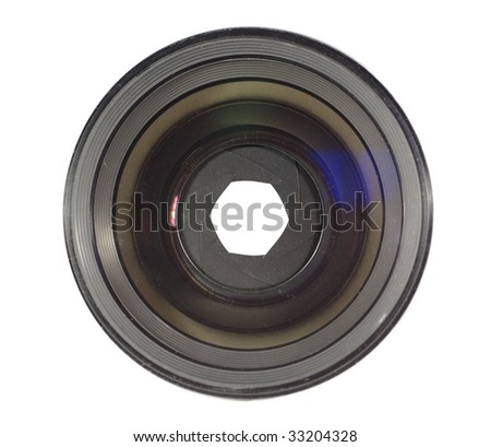 lens of camera on white background - stock photo