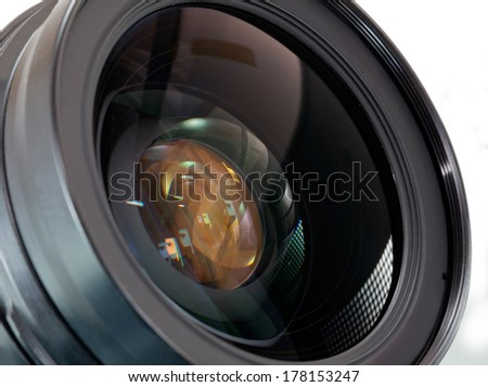 lens of the photo on white background - stock photo