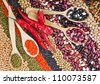 lentils, beans, peas, soybeans, legumes, red hot pepper, spoons, textured background - stock photo