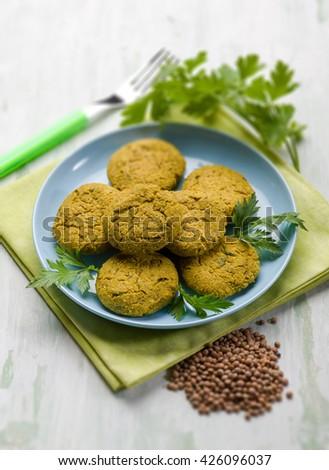 lentils croquette, selective focus - stock photo