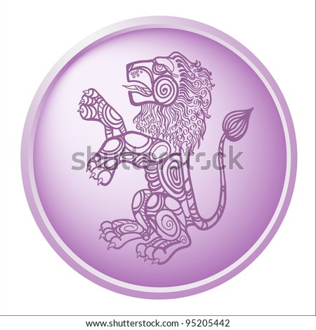 leo, button with sign of the zodiac - stock photo