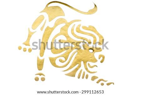 Leo sign of horoscope isolated on white - stock photo