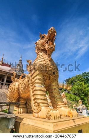 Leo Temple entrance Wat Phra Mongkol Kiri, Phrae Province, Thailand - stock photo