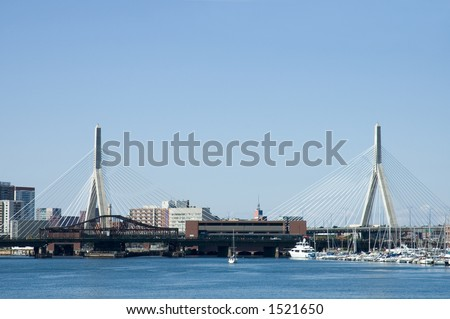 Leonard P. Zakim Bridge, also named  the $100 million bridge,sailing boats, skylines, Boston, Massachusetts, taken from St Charles River - stock photo