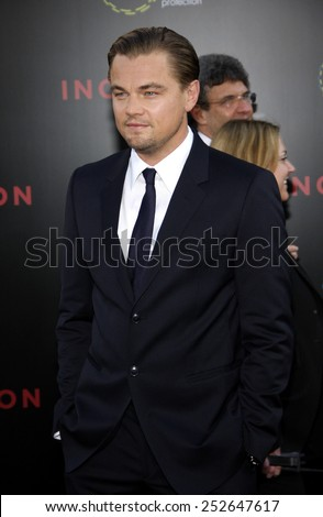 """Leonardo Dicaprio at the Los Angeles Premiere of """"Inception"""" held at the Grauman's Chinese Theater in Los Angeles, California, United States on July 13, 2010.  - stock photo"""