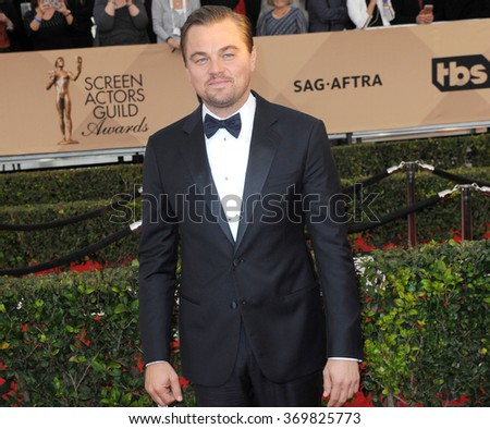 Leonardo DiCaprio at the 22nd Annual Screen Actors Guild Awards held at the Shrine Auditorium in Los Angeles, USA on January 30, 2016.  - stock photo