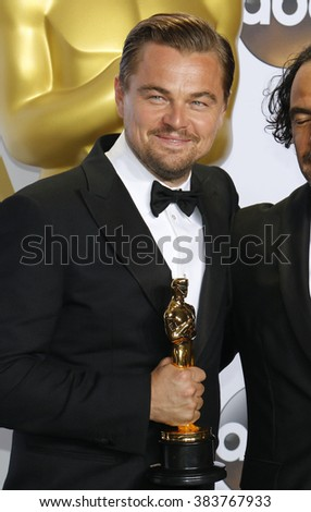 Leonardo DiCaprio at the 88th Annual Academy Awards - Press Room held at the Loews Hollywood Hotel in Hollywood, USA on February 28, 2016. - stock photo