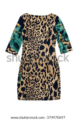 leopard  dress isolated on white - stock photo