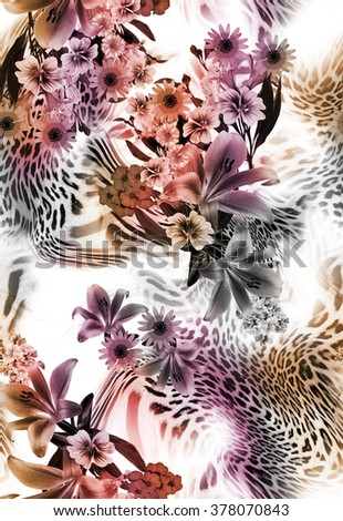 leopard skin and  flowers seamless background - stock photo