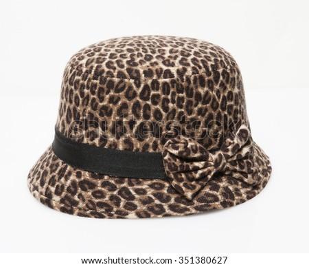 leopard women elegance hat isolated - stock photo