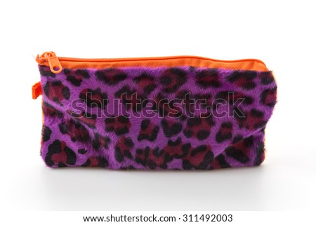 leopard zip bag on white background - stock photo