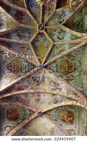 LEPOGLAVA, CROATIA - SEPTEMBER 21: Fresco painting on the ceiling of the parish Church of the Immaculate Conception of the Virgin Mary in Lepoglava on September 21, 2014 - stock photo
