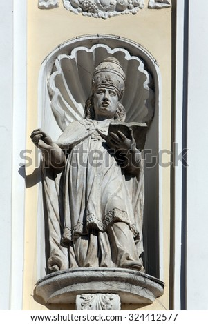 LEPOGLAVA, CROATIA - SEPTEMBER 21: Saint Gregory the Great on the portal of Holy Cross, parish Church of the Immaculate Conception of the Virgin Mary in Lepoglava on September 21, 2014 - stock photo