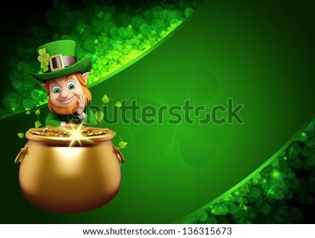 Leprechaun for Patrick day on green background - stock photo
